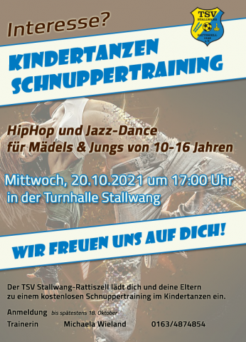 Flyer Schnuppertraining Kindertanzen 20.10.2021